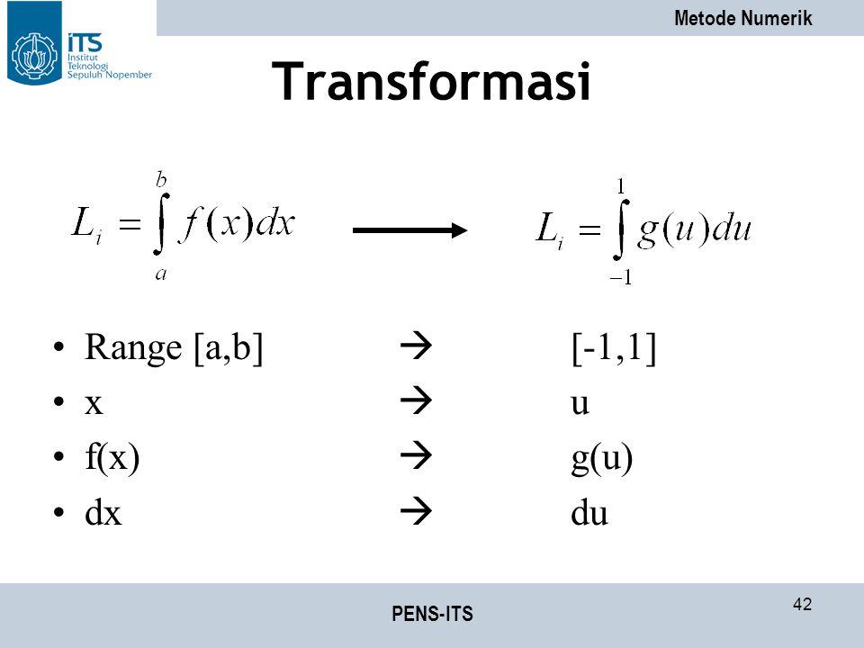 Transformasi Range [a,b]  [-1,1] x  u f(x)  g(u) dx  du PENS-ITS